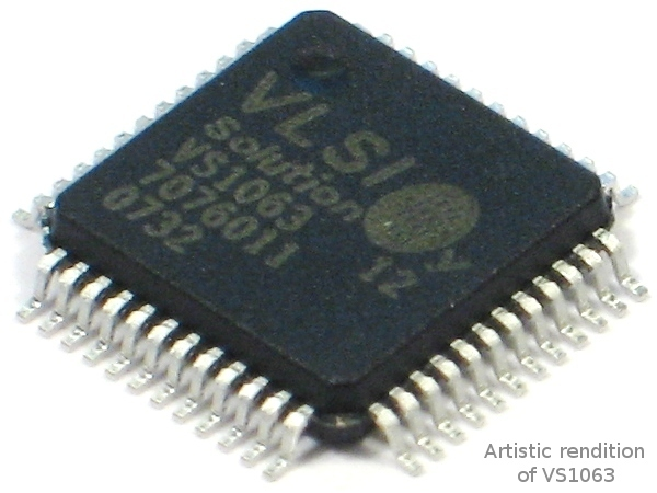 VS1063A-L, MP3 / Ogg Vorbis Encoder and Audio Codec Circuit.